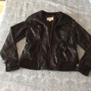 Faux leather jacket.